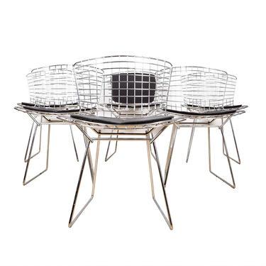 French Set of 6 Harry Bertoia Chrome Wire Chairs w\/ Slate Grey Cushions
