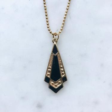 Enamel Art Deco Pendant Necklace | Art Deco Necklace | Enamel Pendant | Gold Plated Necklace | OOAK Necklace | Vintage Necklace by LedbellyVintage