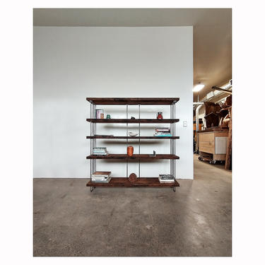 reclaimed wood shelving from roughsawn old growth fir and steel - bookcase, bookshelf - urban modern - our wide option - 4 to 7 shelves by birdloft