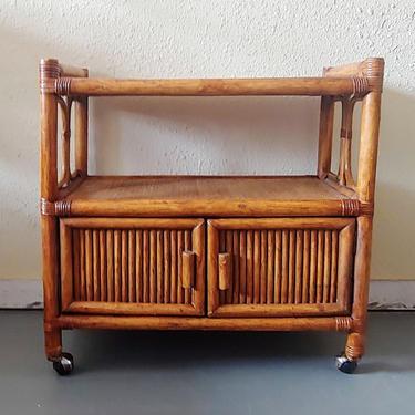 Vintage Rattan Rolling Bar Cart Server Media Console Wicker Cabinet by ModandOzzie