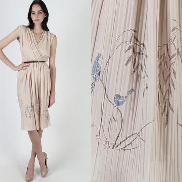 Vintage Floral Wrap Dress / Tan Deep V Neck Flower Dress / 70s Blue Bird Print Pleated Skirt / Light Sleeveless Day Party Mini Dress by americanarchive