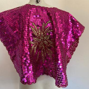 SEQUIN Cape vintage embellished sequin top, vintage sequin wrap, jeweled color and fuscia pink Sequin top one size. by RETROSPECTNYC