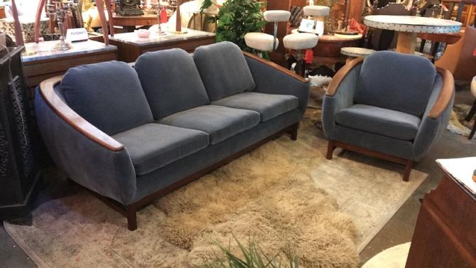 Mid Century Curved Design Softened with Gorgeous Blue Mohair Custom Upholstery 3 Seat Sofa and Side Chair Set by R. Huber