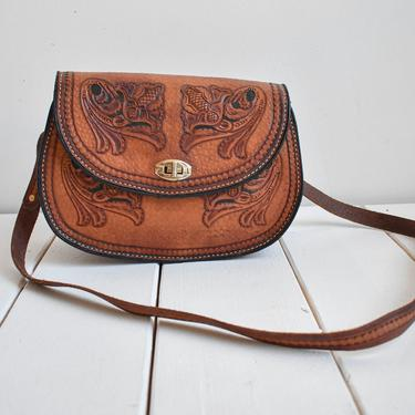Brown 1970s Hand Tooled Leather Purse by milkandice