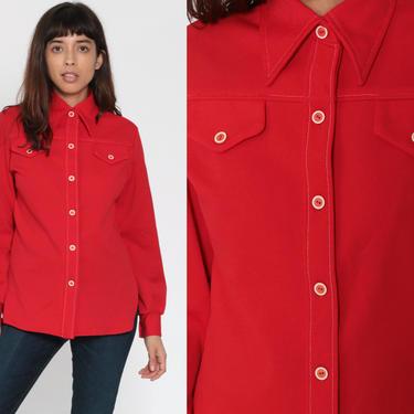 70s Red Shirt Oxford Shirt Mod Blouse TOPSTITCH Button Up Long Sleeve Top Hipster 1970s Collared Plain Shirt Geek Nerd Small Medium by ShopExile