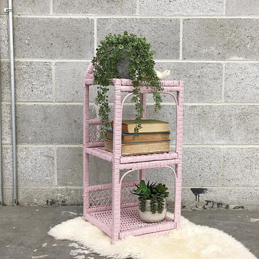 Vintage Wicker Rack Retro 1980s Bohemian + Pink + Three Tier + Woven Design + Open Shelving and Display + Home and Wall Decor + Plant Stand by RetrospectVintage215