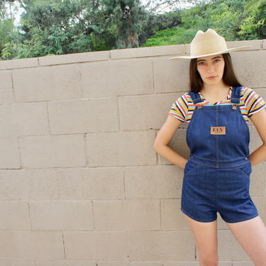 Ely Overalls // vintage 70s denim romper jean jumpsuit high waist boho hippie jeans shorts dress overall 1970s // 24 25 27 by FenixVintage
