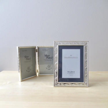 vintage silver plated 5 x 7 picture frames - wedding frame Loui Michel and Philip Whitney by ionesAttic