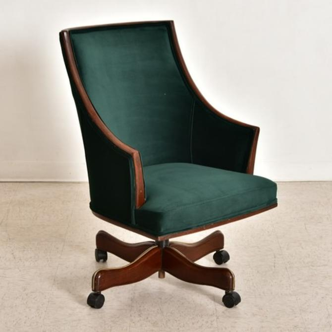 Green Velvet Antique Executive Desk Chair