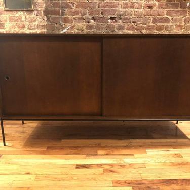 "Paul mccobb mid century modern credenza sideboard dresser maple 4 drawer maple walnut doors iron base legs 60"" by symmetryvintage"