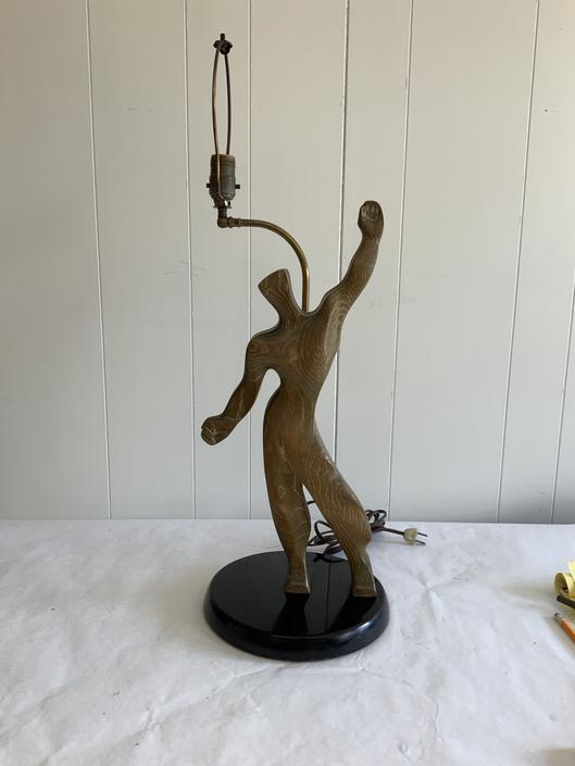 Mid Century Yasha Heifetz wooden figure lamp