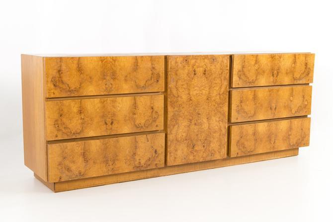 Milo Baughman for Lane Mid Century Burlwood 9 Drawer Lowboy Dresser - mcm by ModernHill