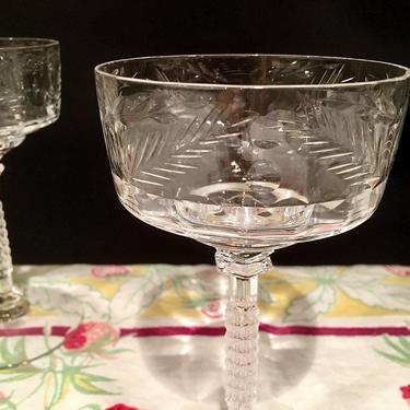Set of Six Crystal Cocktail Glasses / Vintage Champagne Glasses Hand Cut Lead Crystal by BellewoodDesignGoods