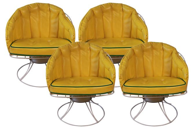 Four Vintage Mid Century Modern 1960s Homecrest Swivel Barrel Lounge Chairs Eames Era by Marykaysfurniture