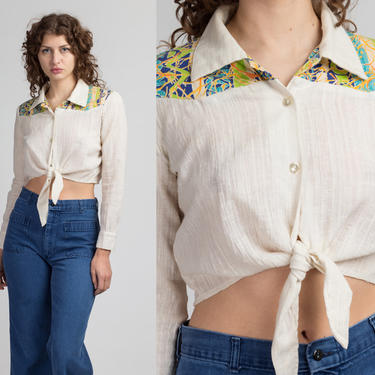 70s Western Tie Waist Crop Top - Large | Vintage Off-White Button Up Boho Striped Yoke Cropped Blouse by FlyingAppleVintage
