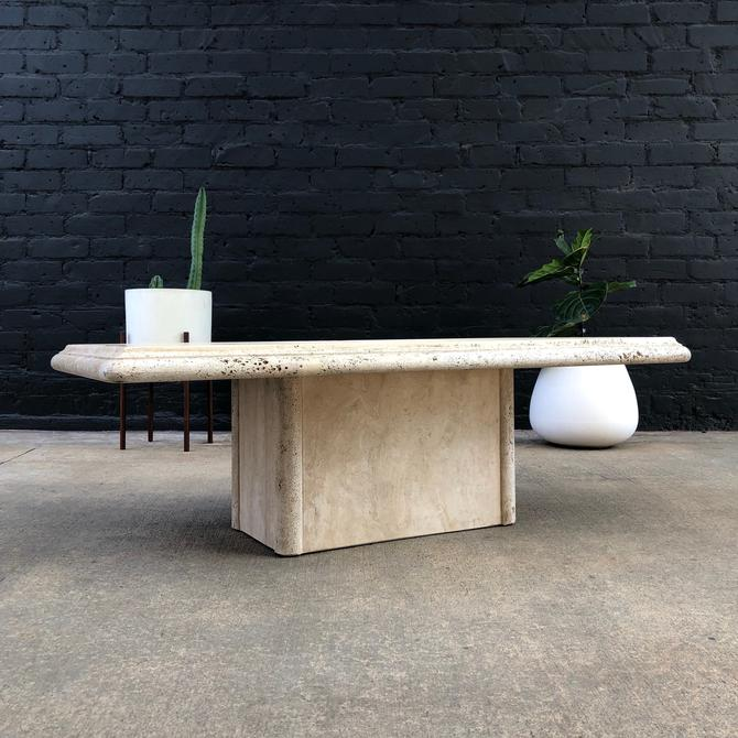 Vintage Travertine Stone Coffee Table by VintageSupplyLA