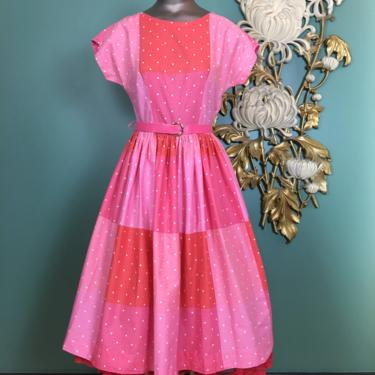 1950s cotton dress, fit and flare, vintage 50s dress, medium, polka dot, pink and orange, cap sleeve, full skirt, Brentwood, mrs maisel, 27 by BlackLabelVintageWA