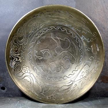 Vintage Chinese Brass Dragon Motif Bowl - Etched Dragon Design - Shallow Brass Bowl - Trinket Dish     FREE SHIPPING by Bixley