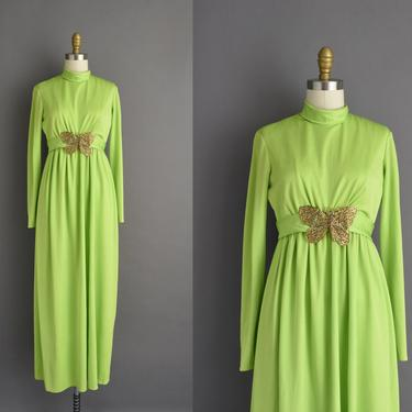 1970s vintage dress   Outstanding Chartreuse Green Gold Butterfly Full Length Cocktail Party Dress   Small Medium   70s dress by simplicityisbliss