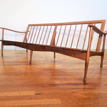 Mid Century Otto Gerdau Wood Lounge Sofa Made in Italy by ProRefineFurnishings