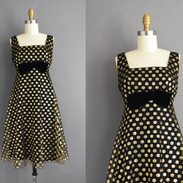 vintage 1960s   Gorgeous Black Sparkly Gold Polka Dot Holiday Cocktail Party Dress   Small Medium   60s dress by simplicityisbliss