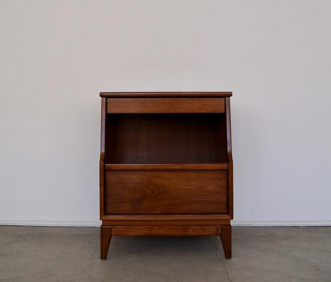 Gorgeous 1940's Mid-century Modern Solid Cherry Nightstand Professionally Refinished in Walnut! by CyclicFurniture