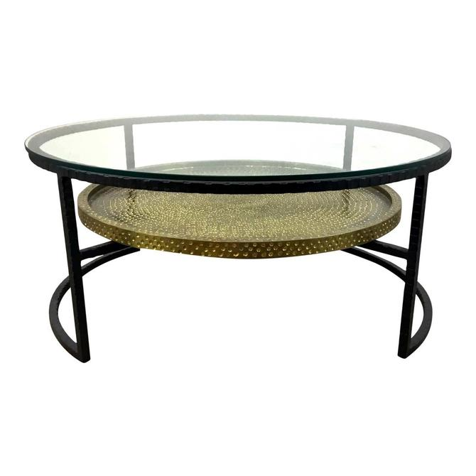Arteriors Modern Textured Metal and Glass Two-Tier Cocktail Table