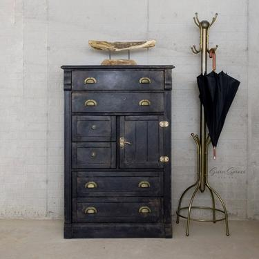 Black Industrial Chest of Drawers, Tall Vintage Dresser by GreenSpruceDesigns
