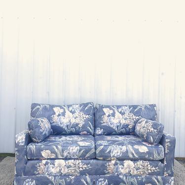 Vintage Blue Floral Loveseat Sofa
