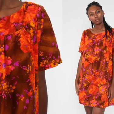 60s Hawaiian Dress Mini Floral Shift Mod Tent Orange Hippie 70s Boho Tropical Gogo Vintage Short Sleeve Go Go Bohemian Medium Large by ShopExile