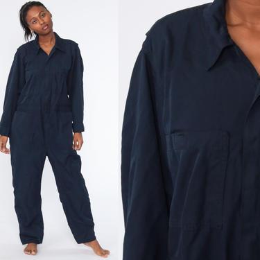 Navy Coveralls Jumpsuit Pants Workwear Uniform Outfit 80s One Piece Long Sleeve Work Wear Boiler Suit Vintage 1980s Blue Large 42 by ShopExile