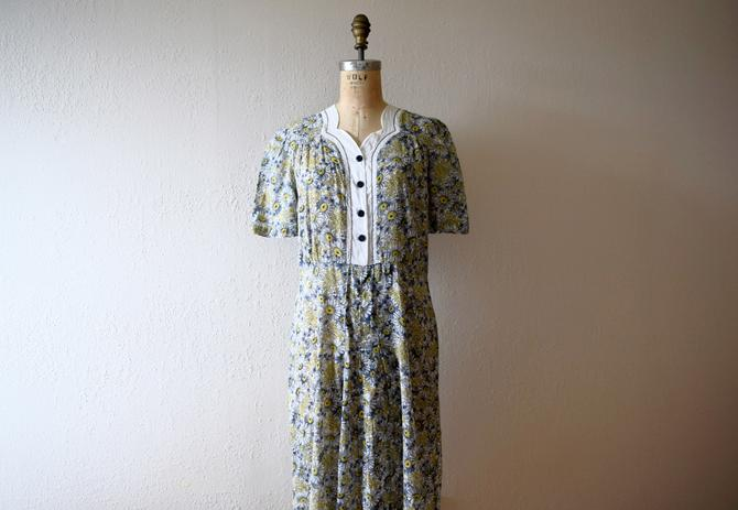 1930s 1940s dress . vintage floral print dress by BlueFennel