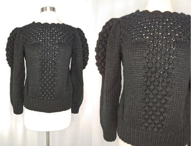 Vintage Eighties Black Acrylic Knit Pompom Pullover Sweater - 80s Small Puff Sleeve Scallop Trim Sweater by JanetandJaneVintage