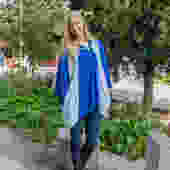Hooded Kimono Cardigan with Pockets in Blue