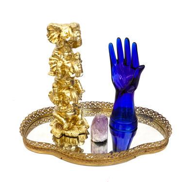 HEAR/SEE/SPEAK No Evil Gold Elephants Figurine | Good Luck Elephant Totem | Boho Chic Nursery Decor | Code of Conduct Animal Statue by ELECTRICmarigold