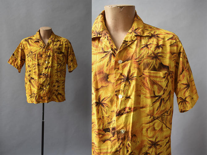 Yellow Vintage Hawaiian Button Up / Mens Vintage / 1960s Hawaiian Shirt / Palm Tree Hawaiian Button Down / 1960s Mens Vintage Shirt /Volcano by milkandice