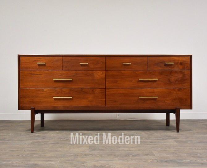 Walnut and Brass Dresser by Ramseur by mixedmodern1
