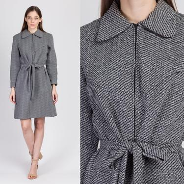 60s Mod Collared Belted Mini Dress - Large   Vintage Barnsville Park Suite Zip Front Long Sleeve Dress by FlyingAppleVintage