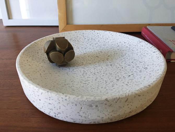 Solid Terrazo Catchall Bowl Tray Vintage White Mid century modern California by CaribeCasualShop