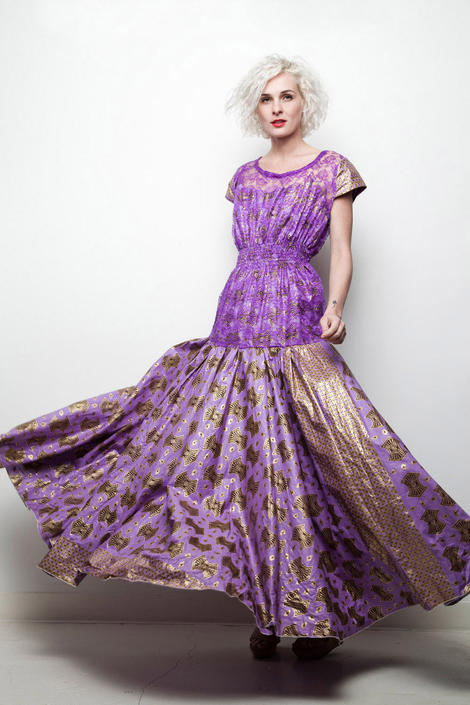 African wax fabric evening gown maxi dress purple gold lace open back L LARGE (SU-1) by shoprabbithole