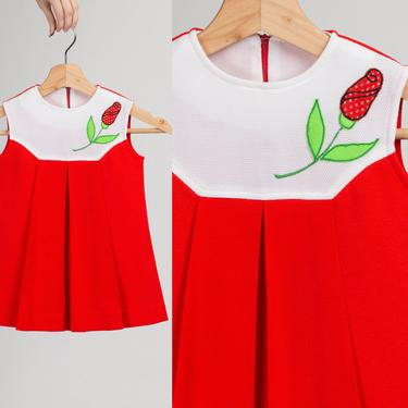 60s 70s Red Floral Toddler Dress - Size 4T   Vintage Sleeveless Shift Girl's Dress by FlyingAppleVintage
