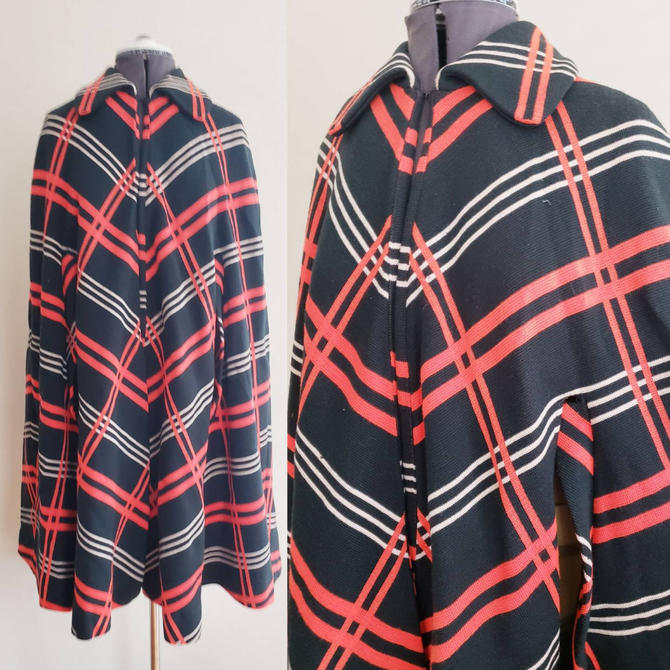 1960s Francis X Wool Knit Cape / 60s Graphic Print Black Red White Geometric Stripe Cloak / Made in Italy / L by RareJuleVintage