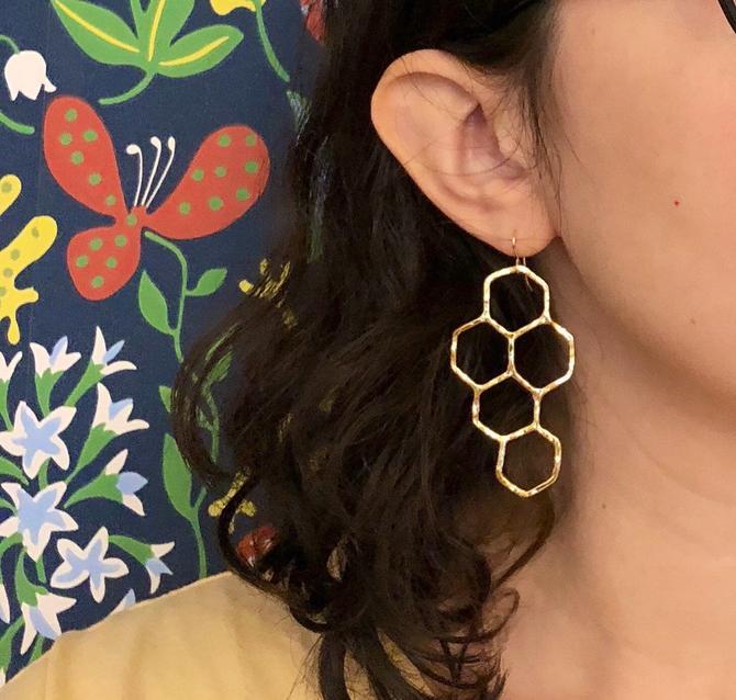 14k Gold Plated Honeycomb Dangle Earrings by RachelPfefferDesigns