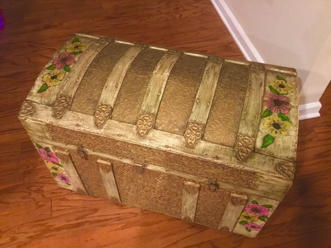 Custom painted and crafted Chest / Trunk on wheels