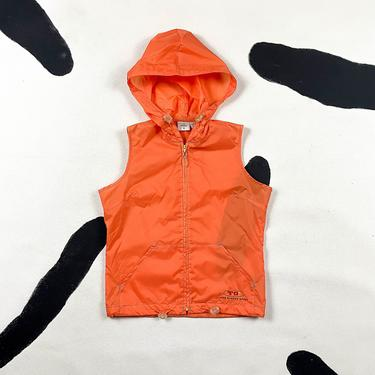 90s Todd Oldham Sport Orange Nylon Vest / Hooded / Sporty / Utility / Tactical / Parachute / Clear / Toggles / Small / NOS / Deadstock by shoptrashdotnet