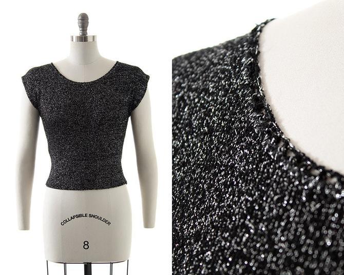 Vintage 1950s Sweater Top | 50s Metallic Silver Lurex Black Knit Short Sleeve Blouse (x-small/small/medium) by BirthdayLifeVintage