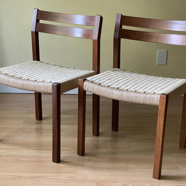 TWO Moller Chairs in Teak and new Danish Paper Cord, dining chairs, desk chairs, bedroom chairs by ASISisNOTgoodENOUGH