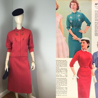 Agnes Was Full of Bling - Vintage 1950s Gloria Cerise Pink Wool Knit Beaded Sweater Skirt Set - M by RoadsLessTravelled2