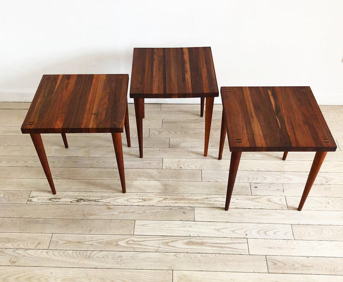 1950s Solid Walnut Refinished Mel Smilow Stacking Tables-Set of 3