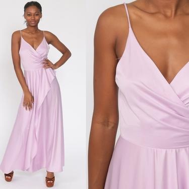 Lavender Party Dress Grecian Dress 70s Maxi Dress Pastel Purple 1970s Boho High Waist Long Drape Gown Formal Spaghetti Strap Extra Small xs by ShopExile